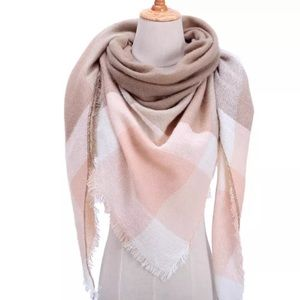 Accessories - NEW Fringe Blanket Scarf Shawl in Peach&Tan Plaid